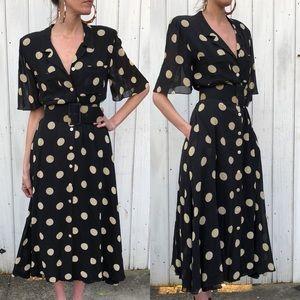 Vintage button front polka dot dress